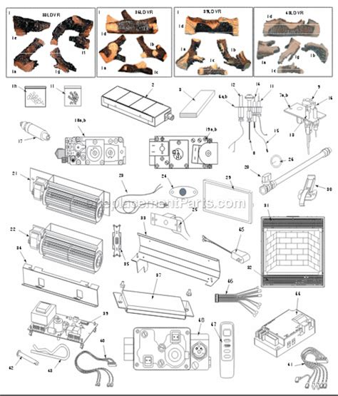 gas fireplace parts majestic 36ldvr parts list and diagram ereplacementparts