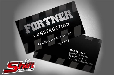 Their primary responsibility is on bidding on civil projects that have gone to tender. Fortner Construction Business Cards - Shift Designs