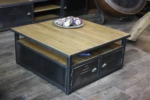 Table Basse Industrielle Carrée : une tables basse le must dans un salon ~ Teatrodelosmanantiales.com Idées de Décoration