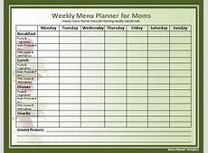 7+ weekly menu template Procedure Template Sample