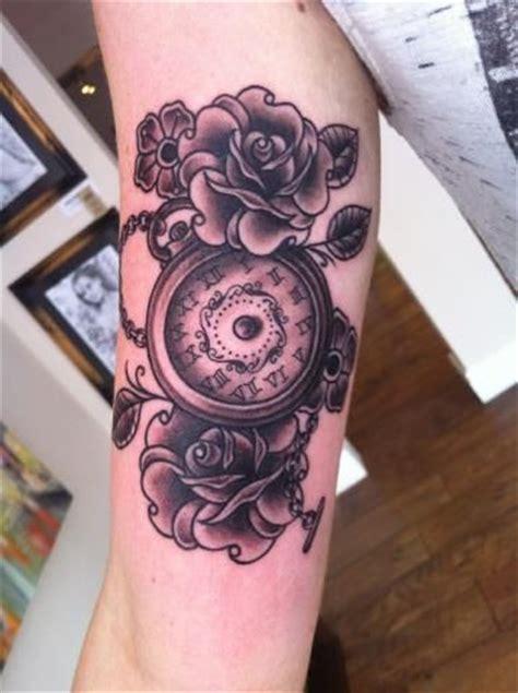 roses  clock tattoo  lauren cheltenham cheltenhamtattoos tattoos realism realistic