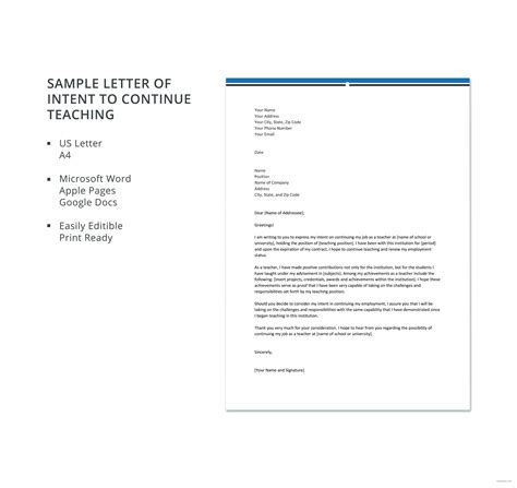 sample letter  intent  continue teaching letter