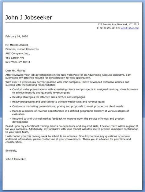advertising account executive cover letter sample