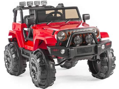 kids red jeep kids ride on jeep trailcat style red 12v battery powered