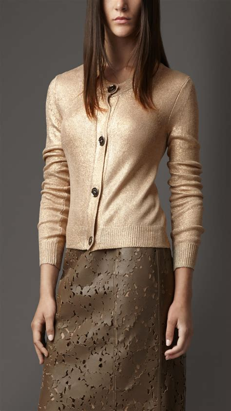 Burberry Metallic Silk Cardigan In Metallic Lyst