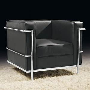 Fauteuil cuir noir design chrome inox chic corbs univers for Fauteuil cuir noir design