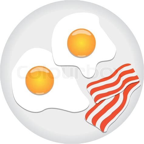 Fried eggs and bacon on plate   Stock Vector   Colourbox