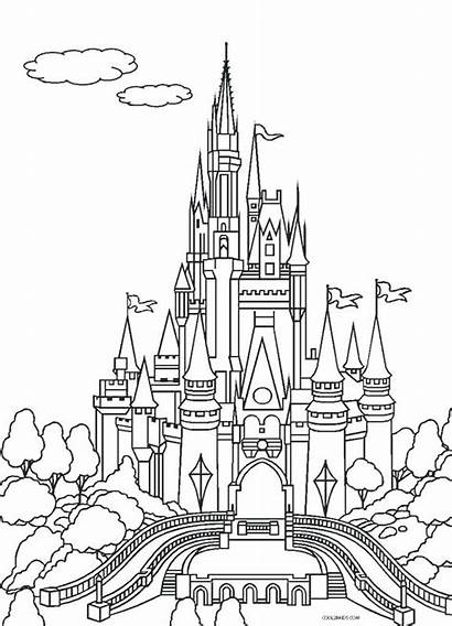 Castle Disney Drawing Line Coloring Pages Getdrawings