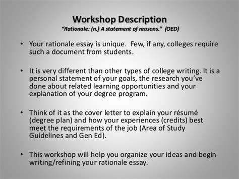 planning and writing your rationale essay fall 2013