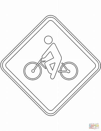 Traffic Coloring Sign Brazil Pages Cyclist Signs
