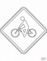 Traffic Coloring Brazil Cyclist Signs Road Printable Transport sketch template