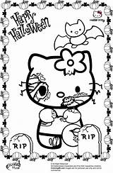 Halloween Coloring Pages Kitty Hello Zombie sketch template