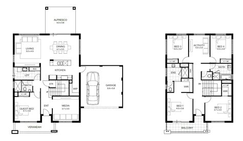 2 floor plans 2 house plans two four bedroom house plan with
