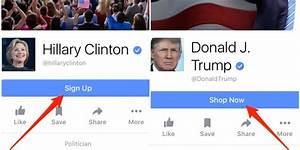 Donald Trump's Facebook page has shop now button ...