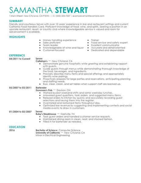 Resume With Server Experience by Servers Sles No Experience Resumes Livecareer