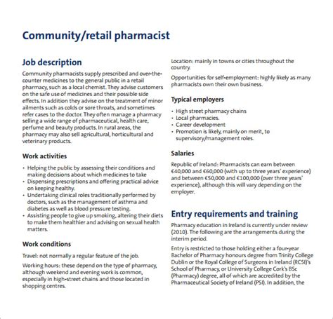 Pharmacist Duties by Pharmacist Description Template 10 Free Word Pdf