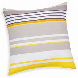 Coussin Gris Et Jaune : coussin ray en coton jaune gris 50 x 50 cm porto ~ Dailycaller-alerts.com Idées de Décoration