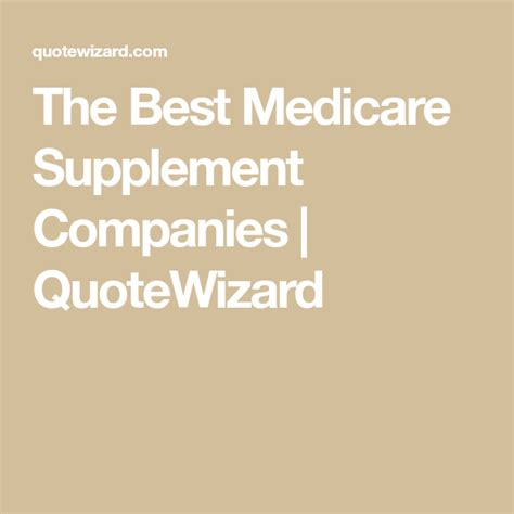 Since medicare supplement plans are standardized the benefits will be the same from one insurance company to the next. The Best Medicare Supplement Companies | Medicare supplement, Medicare, Medicare supplement plans