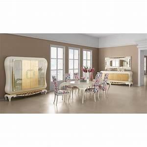 Salle A Manger De Luxe : salle manger de luxe blanche eiffel miroir blanc feuilles d 39 or et d 39 argent et buffet ~ Melissatoandfro.com Idées de Décoration