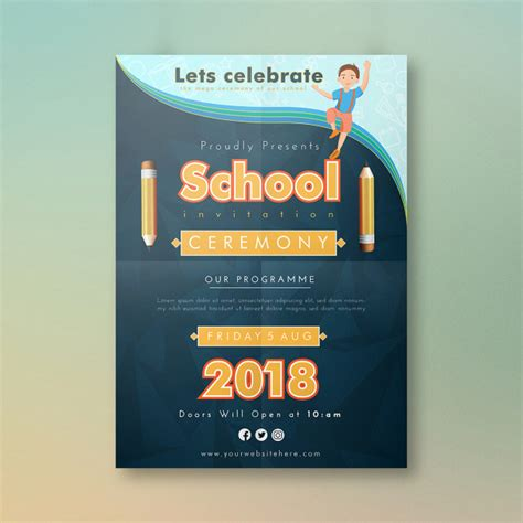Cartoon school invitation card design Vector Premium