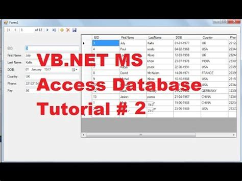 vbnet ms access  tutorial  add  remove