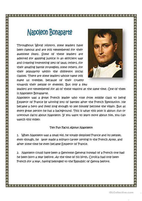 napoleon bonaparte worksheet free esl printable
