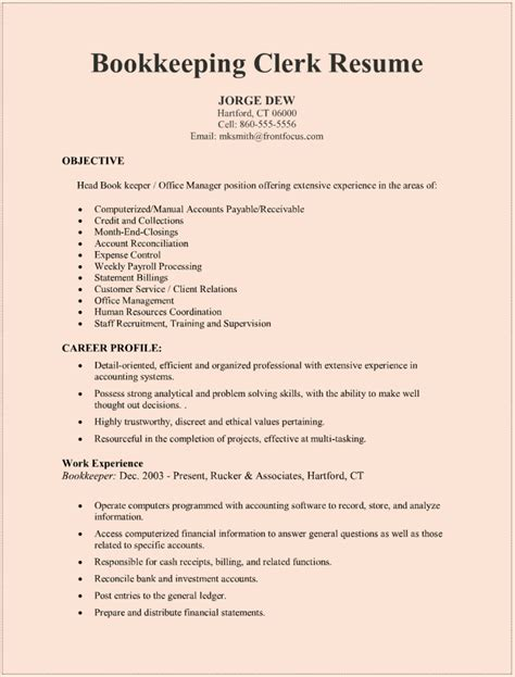 Free Resumes Sles by Bookkeeping Resumes Sles Printable Resume Resume Badak