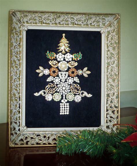 vintage jewelry christmas tree collage