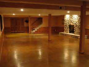 Polished Stained Concrete Basement Floor
