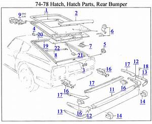 74-78 Hatch  Hatch Parts  Rear Bumper Parts Diagram