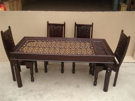 wooden antique dining table  chair wooden table