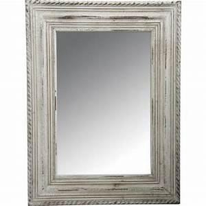 Miroir Cadre Bois : grand miroir rectangle avec cadre en bois blanc achat vente miroir cdiscount ~ Teatrodelosmanantiales.com Idées de Décoration
