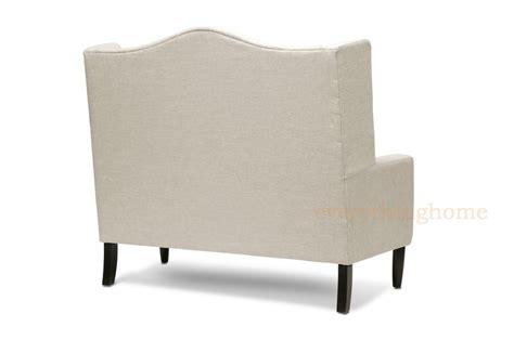 Modern Beige Dark Gray Grey Linen Tufted Banquette Sofa