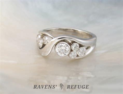 Diamond Bezel Bubble Ring  Handmade Engagement Ring