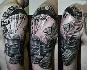 Gambling Money Tattoo On Man Right Half Sleeve | joo ...
