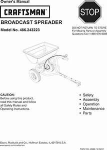 Craftsman 486243223 User Manual Spreader Manuals And