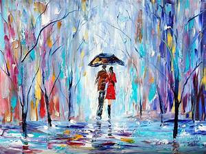 Landscape painting original oil Rain LOVE palette knife on