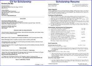 how to write impressive resume for scholarship