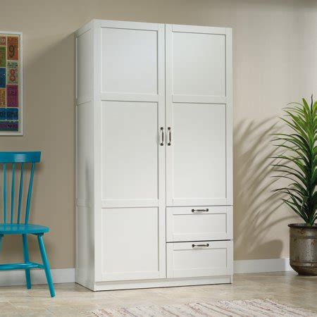 White Freestanding Wardrobe by Sauder Select Wardrobe Armoire White Finish Walmart