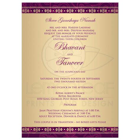 Wedding Invitation Hindu Ganesh Purple Fuchsia Gold