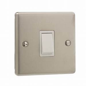 British General Stainless Steel Single 1 Gang Light Switch Double Pole 20amp Bg 5021166073009