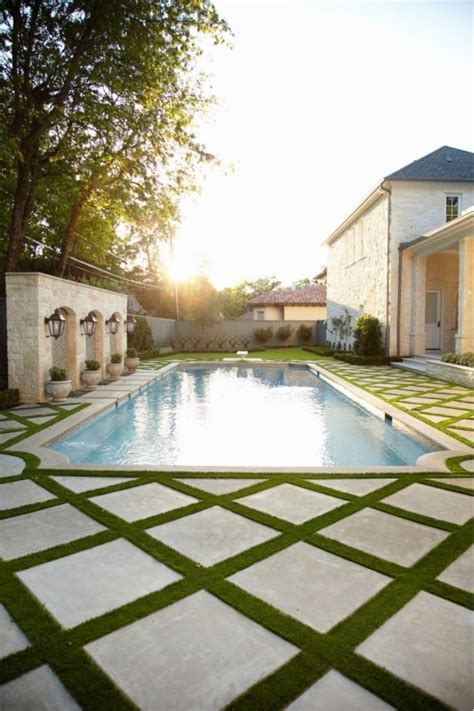 Love The Grass Between The Pavers Around This Swimming