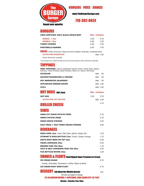the burger garage menu burgers one day in