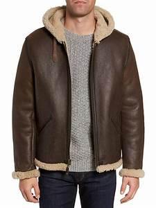 Guide Chart Men Shearling Vintage B6 Hooded Genuine Leather Jacket