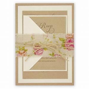 shabby chic rose wedding invitation with burlap and twine With wedding invitation backing paper