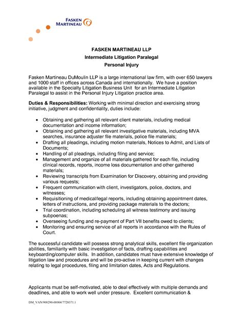 Entry Level Attorney Resume by Personal Injury Paralegal Resume Sle Recentresumes