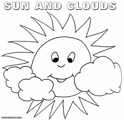 Sun Coloring Pages Clouds Drawing Colorings Getdrawings