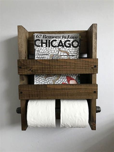 rustic magazine  double toilet paper holder wall