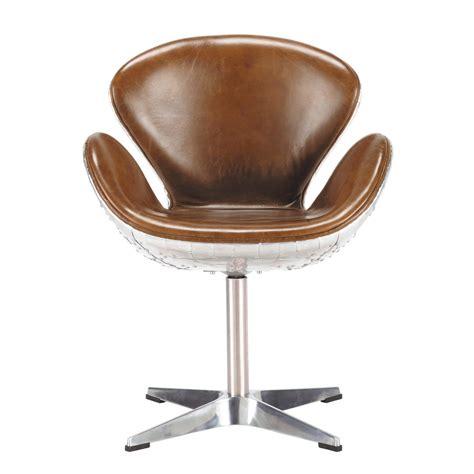 fauteuil de bureau retro fauteuil vintage en cuir marron harisson maisons du monde