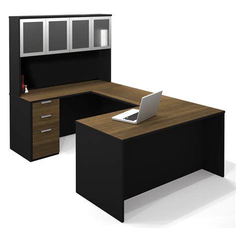 bestar u shaped desk bestar pro concept u shaped desk with high hutch 110855 1598